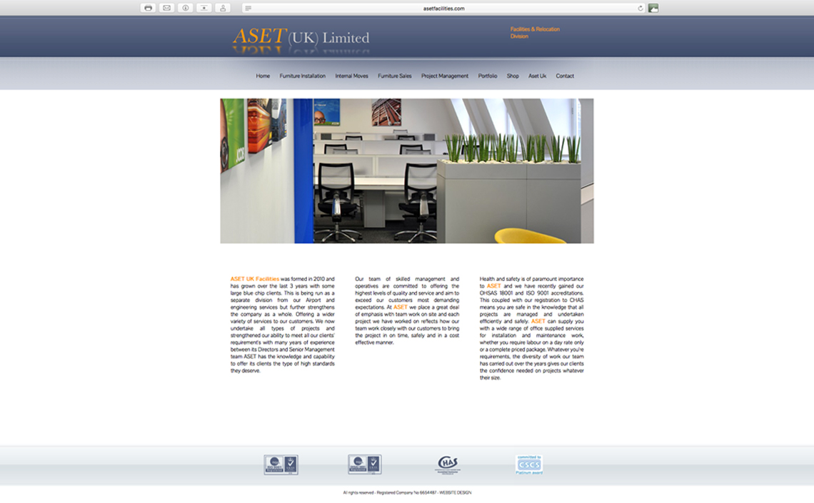 Asest Facilities website in the design stage