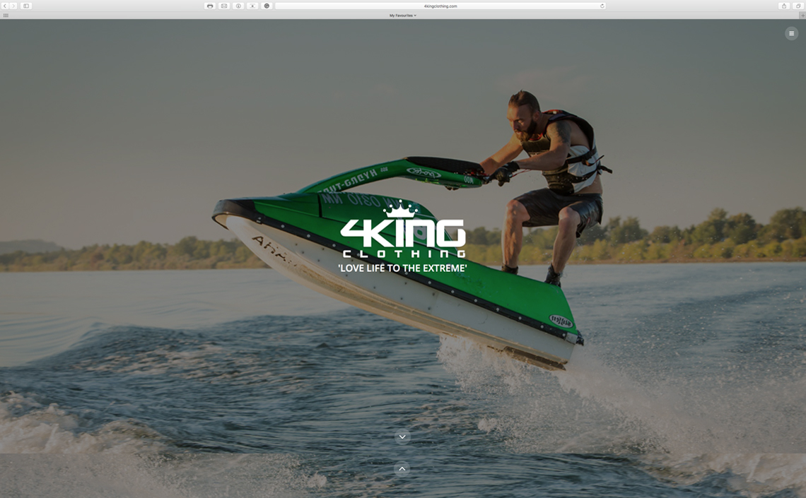 4King Clothing website in the design stage